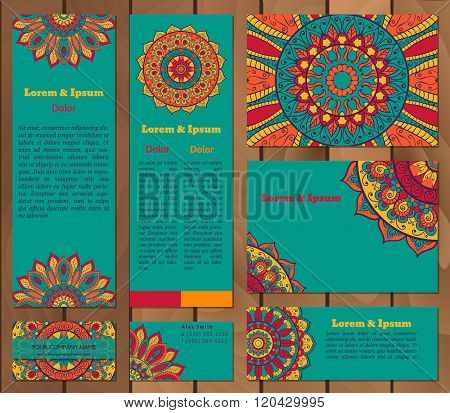 Set Of Business Cards Templates With Oriental Ornament.