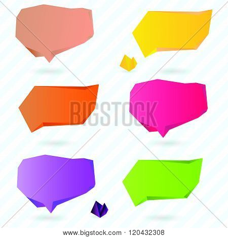 Set of Colorful Origami Polygonal Speech Bubbles. Vector