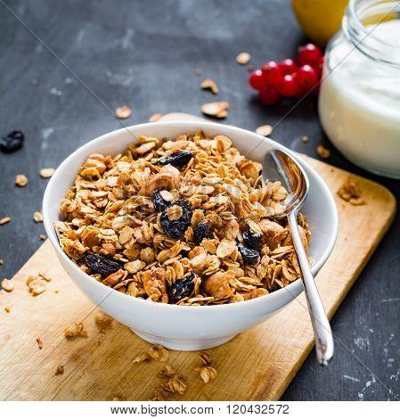 Homemade granola or muesli in bowl