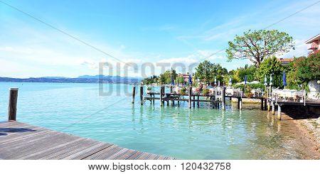 SIRMIONE, ITALY - 15.06.2015: Garda lake shore landscape