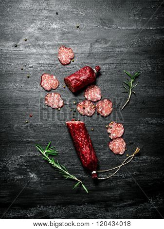 Salami With Fresh Rosemary And Spices.