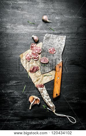 Salami With Garlic And An Old Hatchet .