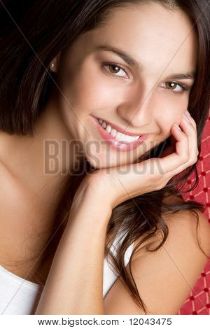 Pretty smiling teen girl closeup