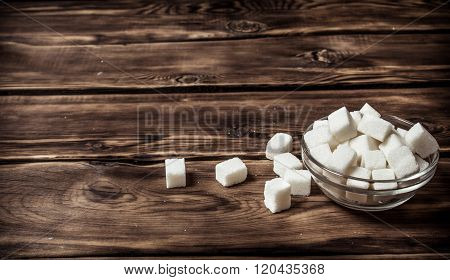 White Refined Sugar In The Cup.