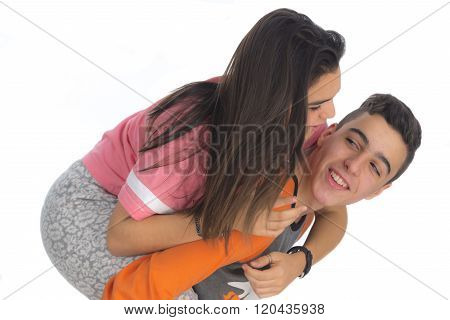 Funny Teen Couple, Smiling Newly  Wake Up And Dressed In Their Pajamas IV