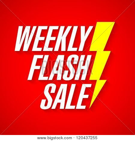 Weekly Flash Sale, deal of the day banner vector illustration