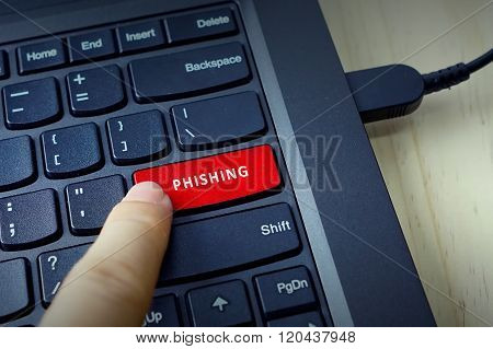 Close Up Of Finger On Keyboard Button With Phishing Word