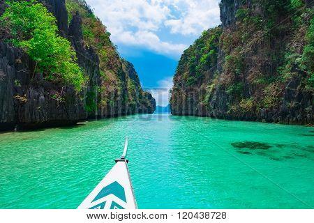 Boat trip in blue lagoon