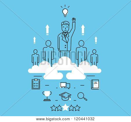 Modern Vector Illustration Concept Of Business People Teamwork, Human Resources