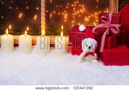 Teddy With Candles And Gifts