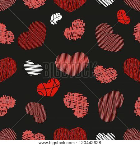 Seamless Pattern With Stylized Hand-drawn Scribble Hearts. St. Valentine's Day Or Weddings Design