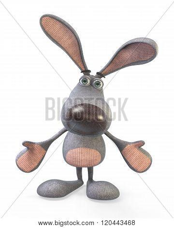 3D Gray, Plush Hare