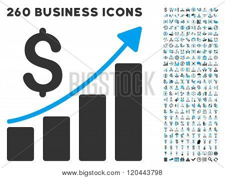 Financial Bar Chart Icon with Flat Glyph Set