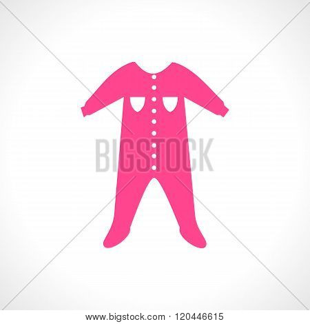 Vector illustration of a  pink jumpsuit. Sleep and play suit
