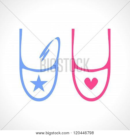 Baby bib in blue and pink isolated on white background