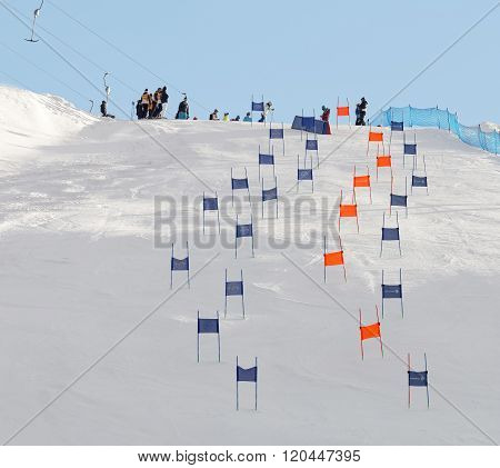 STOCKHOLM SWEDEN - FEB 23 2016: Slalom Hammarbybacken with colorful orange and blue gates at the FIS Alpine Ski World Cup - city event February 23 2016 Stockholm Sweden