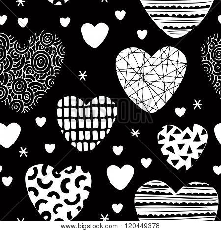 Seamless love design patchwork hearts for valentine and lovers background pattern in vector