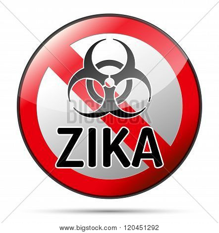 Zika Virus Biohazard Danger Sign With Reflect And Shadow On White Background.