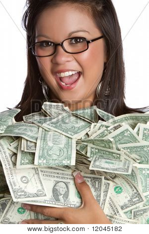 Beautiful asian woman holding money