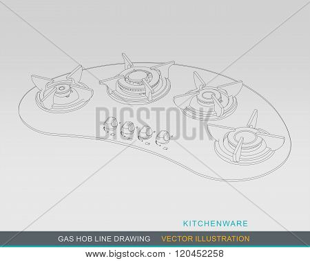 Gas Hob Line Drawing Concept 02
