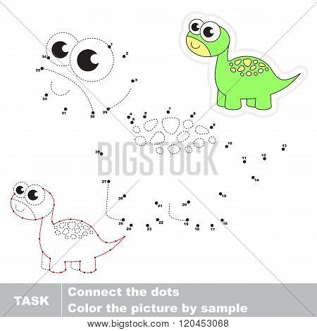 Brontosaurus in vector to be traced by numbers. Vector visual game for children.