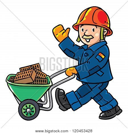 Funny construction worker with cart