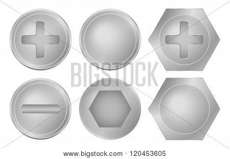 vector set of metal screws bolts and rivets
