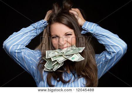 Frustrated money woman pulling hair
