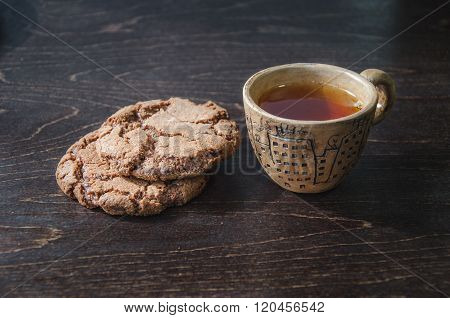 Tea and chocolate biscuits