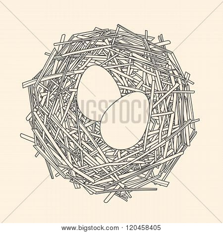 Straw Nest With Two Eggs