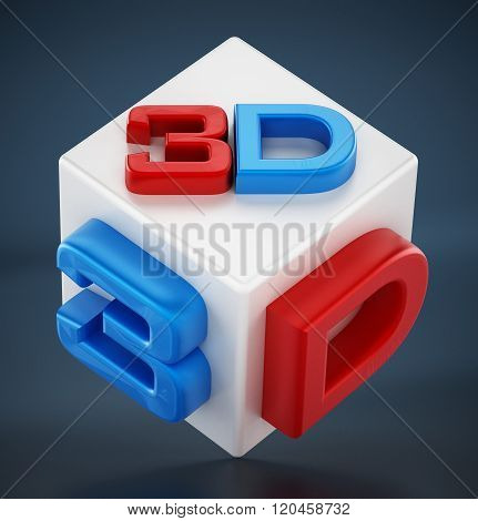 Red And Blue 3D Text On White Cube