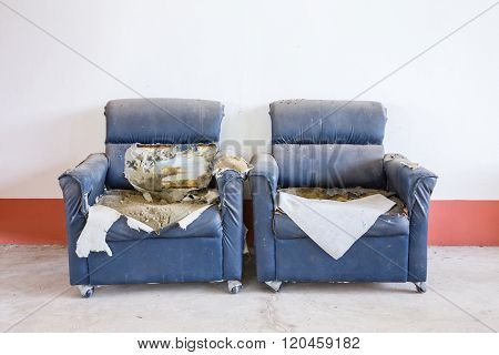 Ruined Synthetic Leather Sofa