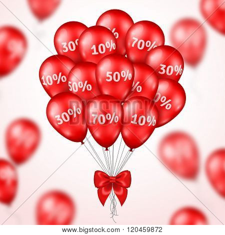 Big Bunch of Red Shining Balloons Sale poster.
