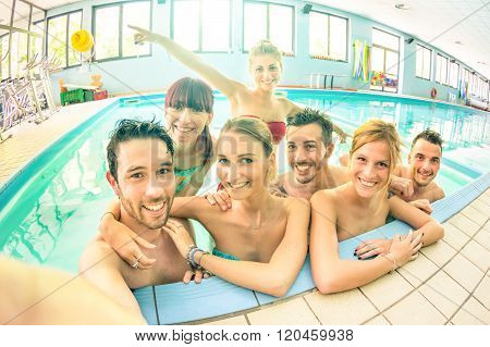 Best Friends Taking Selfie In Swimming Pool - Happy Friendship Concept With Young People Having Fun