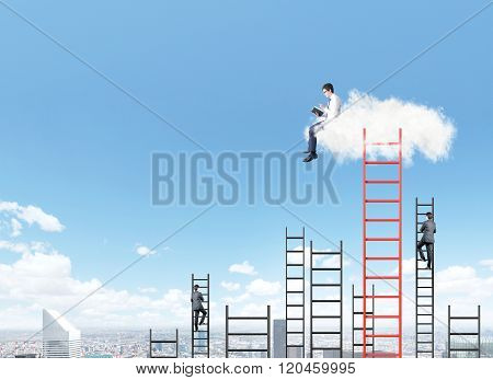 Man On A Cloud Reading A Book