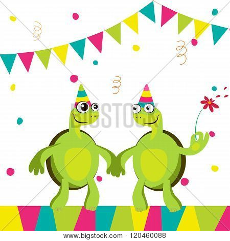 Two Funny Cartoon Turtles  At A Party