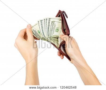 Men's Hand Gets Dollars From A Purse