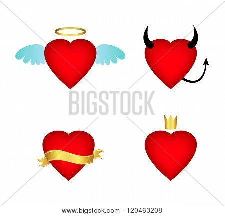 Valentine collection of heart icons. Vector illustration.