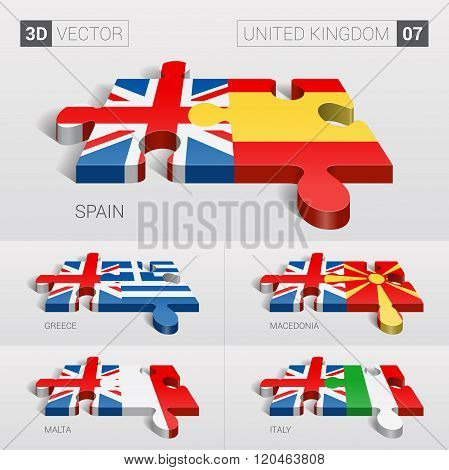 United Kingdom Flag. 3d vector puzzle. Set 07.