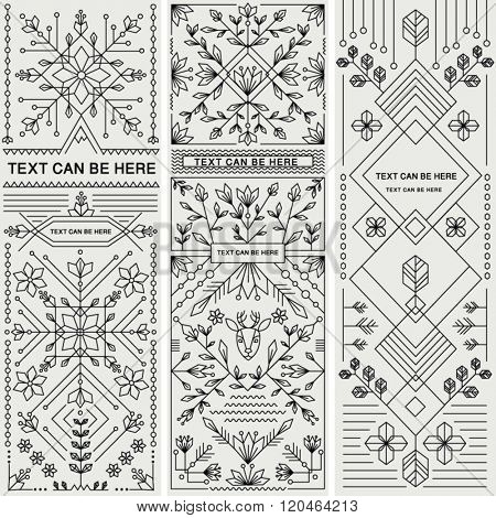 SET OF THREE DECORATIVE DESIGNS. Geometric nature style.Can be used for labels, packages, greeting c