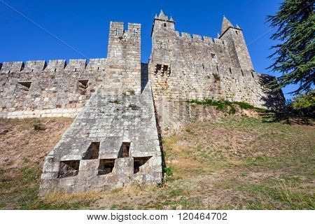 View of a casemate bunker emerging from the walls of the Feira castle. Santa Maria da Feira, Portugal.