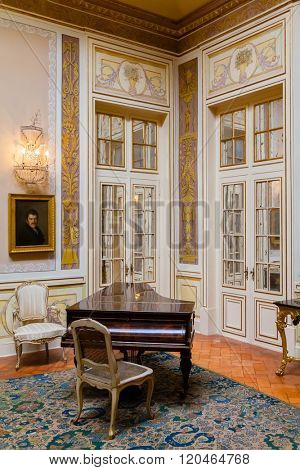 Queluz, Portugal. Lanternim Room (Sala do Lanternim) in the Queluz Palace, Portugal. Formerly used as the Summer residence by the Portuguese royal family.