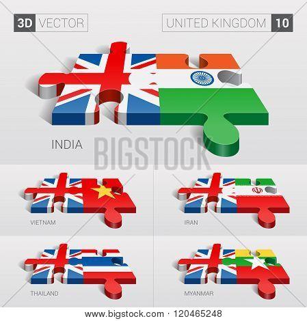 United Kingdom Flag. 3d vector puzzle. Set 10.