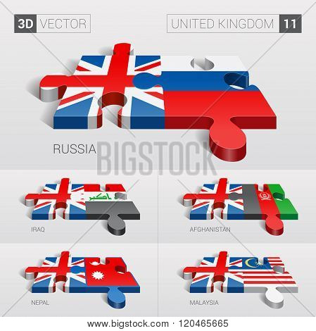 United Kingdom Flag. 3d vector puzzle. Set 11.