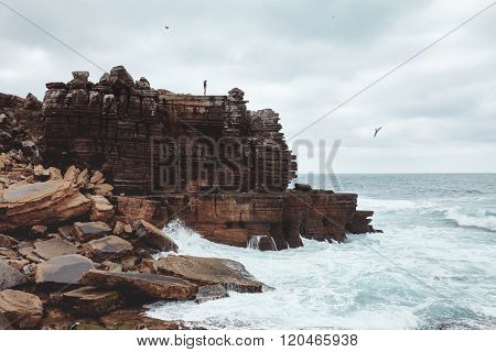 Young woman with flying hair standing on edge of cliff and enjoying view on heavy ocean with big waves and seagulls hovering in cloudy sky - adventure concept