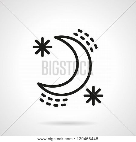Crescent with stars black line design vector icon