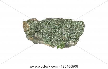 Raw Lustrous Green Diopside From Brazil isolated