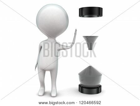 3D Man Presenting Hour Glass Concept