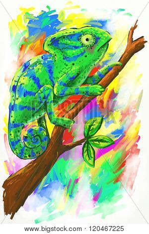 Green Chameleon On Multicolored Background Illustration