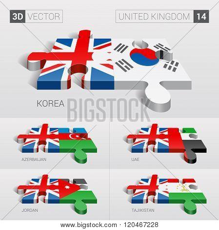United Kingdom Flag. 3d vector puzzle. Set 14.